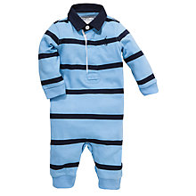 Buy Polo Ralph Lauren Baby Long Sleeve Rugby Romper, Blue/Navy Online at johnlewis.com