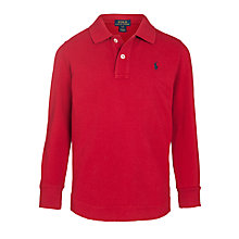 Buy Polo Ralph Lauren Boys' Long Sleeve Polo Shirt, Red Online at johnlewis.com