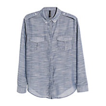 Buy Mango Lightweight Chambray Shirt, Medium Blue Online at johnlewis.com
