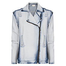 Buy Mango Denim Biker Jacket, Light Pastel Blue Online at johnlewis.com