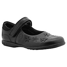 Buy Clarks Breena Flower Applique Children's Leather Shoes, Black Online at johnlewis.com