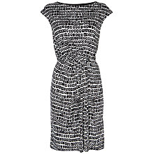 Buy Jaeger Silk Interlock Dress, Black / White Online at johnlewis.com