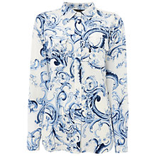 Buy Jaeger Paisley Patch Pocket Blouse, Blue Online at johnlewis.com