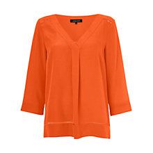 Buy Jaeger V Neck Silk Tunic Top, Orange Online at johnlewis.com