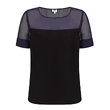 Buy Kin by John Lewis Layered Chiffon Top, Navy Online at johnlewis.com