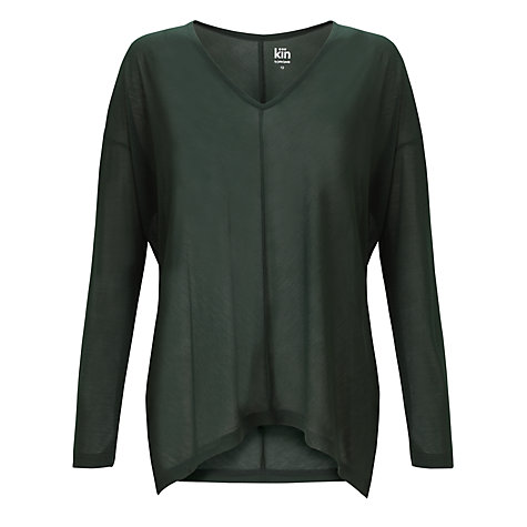 Buy Kin by John Lewis Long Sleeved V-Neck T-Shirt, Forest Green Online at johnlewis.com