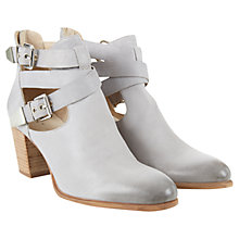 Buy Mint Velvet Jessica Leather Block Heel Ankle Boots, Grey Online at johnlewis.com