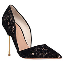 Buy Kurt Geiger Bond Ultra Slim High Heel Court Shoes, Black Lace Online at johnlewis.com