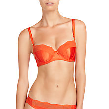 Buy Stella McCartney Penny Buzzing Satin Balconette Bra, Vermillion Online at johnlewis.com