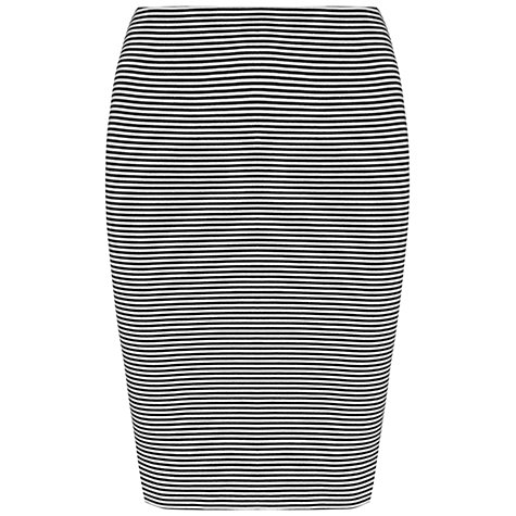 Buy Whistles Fine Striped Tube Skirt, Black/White Online at johnlewis.com