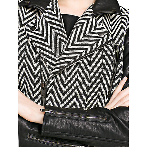 Buy Mango Faux Leather Herringbone Jacket, Black Online at johnlewis.com