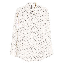Buy Mango Heart Print Flowy Shirt, Natural White Online at johnlewis.com