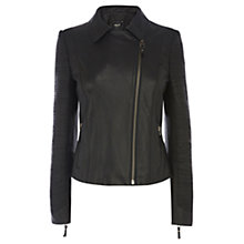 Buy Oasis Slash Detail Leather Jacket, Black Online at johnlewis.com
