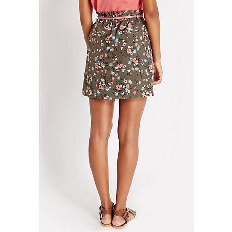 Buy Oasis Khaki Ditsy Paperbag Skirt, Khaki Online at johnlewis.com