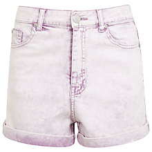 Buy Miss Selfridge Acid Wash Denim Shorts, Lilac Online at johnlewis.com
