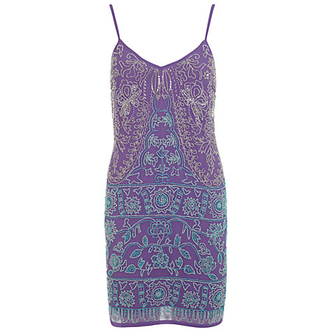 Buy Miss Selfridge Embellished Slip Dress, Purple Online at johnlewis.com