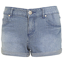 Buy Miss Selfridge Ticking Stripe Denim Short, Assorted Blue Online at johnlewis.com
