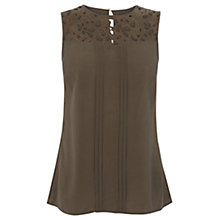 Buy Oasis Lace Trim Viscose Top, Khaki Online at johnlewis.com