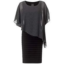 Buy Adrianna Papell Dot Print Capelet Banded Dress, Black/Ivory Online at johnlewis.com
