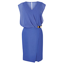 Buy Warehouse Wrap Belted Dress, Bright Blue Online at johnlewis.com