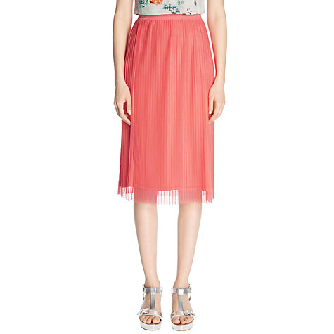 Buy Warehouse Plisse Mesh Midi Skirt, Coral Online at johnlewis.com