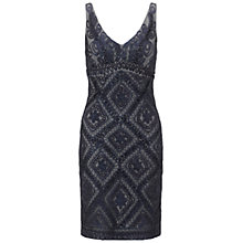 Buy Adrianna Papell Short Embroidered Dress, Navy Online at johnlewis.com
