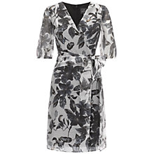 Buy Adrianna Papell Mock Wrap Chiffon Dress, Grey/Ivory Online at johnlewis.com