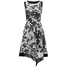 Buy Adrianna Papell Side Drape Chiffon Print Dress, Grey/Ivory Online at johnlewis.com