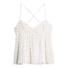 Buy Mango Flared Polka Top, Natural White Online at johnlewis.com