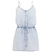 Buy Miss Selfridge Acid Wash Denim Playsuit, Light Wash Denim Online at johnlewis.com
