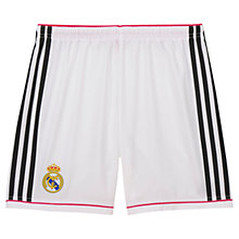 Buy Adidas Real Madrid Home Youth Football Shorts, White Online at johnlewis.com