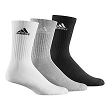 Buy Adidas Adicrew Half-Cushion Socks, Pack of 3, White/Grey/Black Online at johnlewis.com