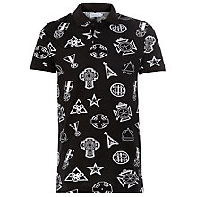 Buy Eleven Paris Klout Geometric Print Polo Shirt, Black/White Online at johnlewis.com