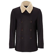 Buy JOHN LEWIS & Co. Made In England Removable Shearling Collar Peacoat, Navy Online at johnlewis.com