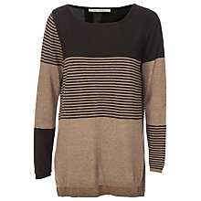 Buy Max Studio Stripe Boat Neck Knit Jumper, Black/Heather Toast Online at johnlewis.com