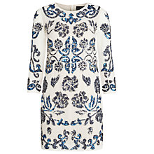 Buy Needle & Thread Empress Dress, Cream/Blue Online at johnlewis.com