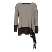 Buy Max Studio Striped Asymmetric Hem Tunic Top, Black/Heather Bone Online at johnlewis.com