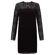 Buy Needle & Thread Silk Overlay Lattice Detail Dress, Black Online at johnlewis.com