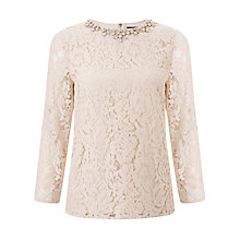 Buy Needle & Thread Floral Lace Top, Soft Pink Online at johnlewis.com