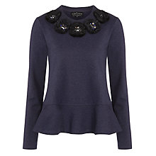 Buy Needle & Thread Peplum Knit Jumper, Navy Marl Online at johnlewis.com