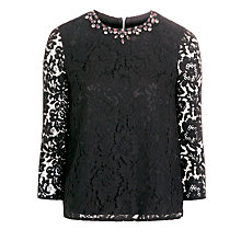 Buy Needle & Thread Floral Lace Top, Black Online at johnlewis.com