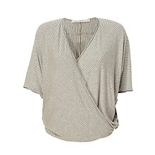 Buy Max Studio Cross V Stripe Loose Top, Heather Steel/Heather Bone Online at johnlewis.com