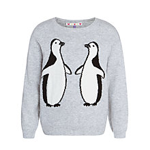 Buy John Lewis Girl Penguin Jumper, Grey Online at johnlewis.com