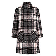 Buy John Lewis Girl Check Funnel Neck Coat, Grey/Pink Online at johnlewis.com