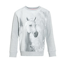 Buy Loved & Found Girls' Horse Print Jumper, Grey Online at johnlewis.com