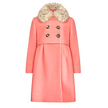 Buy John Lewis Girl Faux Fur Collar Swing Coat, Coral Online at johnlewis.com