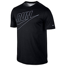 Buy Nike Legend Run Short Sleeve Swoosh T-Shirt, Black Online at johnlewis.com