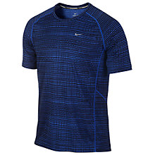 Buy Nike Miler Print Running T-Shirt, Blue Online at johnlewis.com
