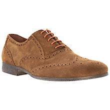 Buy Dune Rayman Wingtip Suede Brogues, Tan Online at johnlewis.com