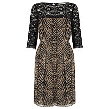 Buy Somerset by Alice Temperley Zig Zag Animal Dress, Gold Online at johnlewis.com